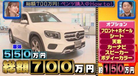 藤田ニコル購入ベンツ合計700万円